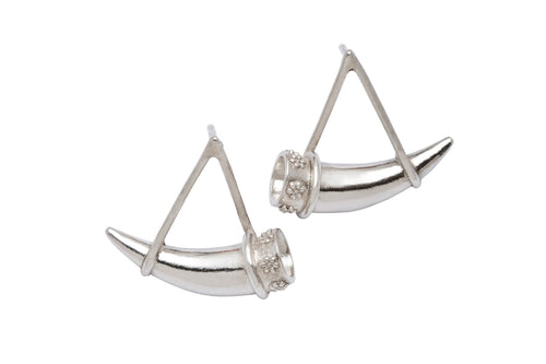 Hanging Horn Earrings - Silver
