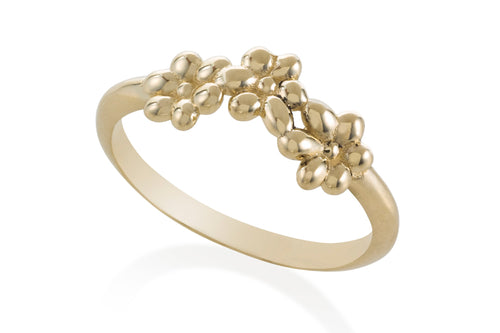 Hippie flower ring - Solid Gold