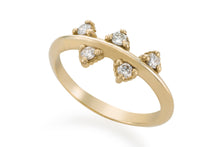 My lucky five ring - Solid Gold with white diamonds