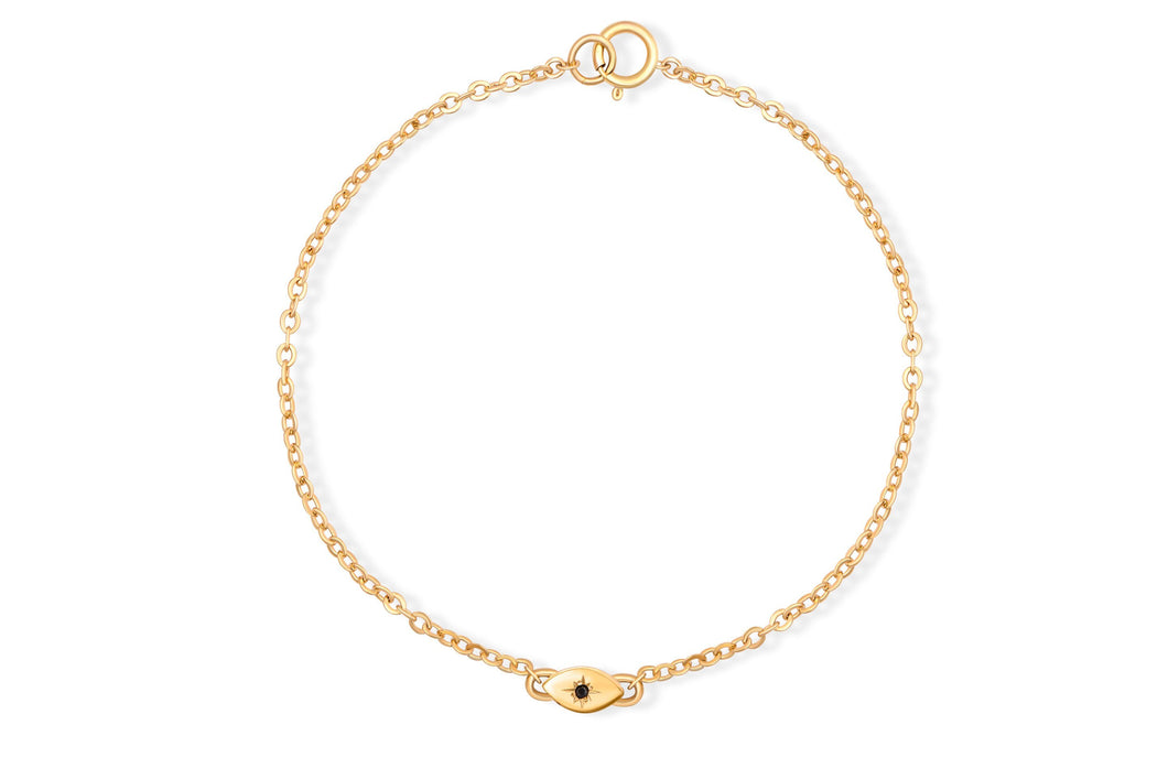 My Guarding Eye Bracelet - Solid Gold with black diamond