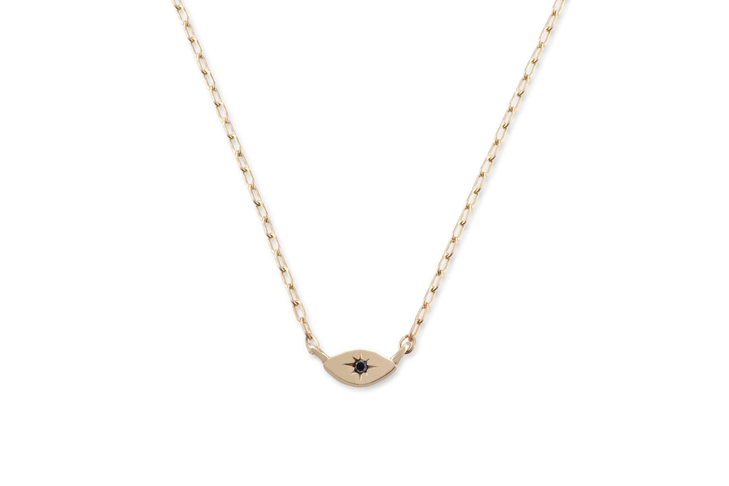 My guarding eye necklace - solid gold with black diamond