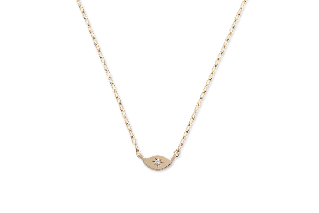 My guarding eye necklace - solid gold with white diamond