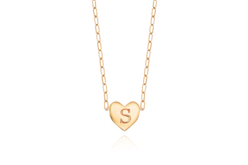 My secret heart necklace - gold plated with a letter engraving