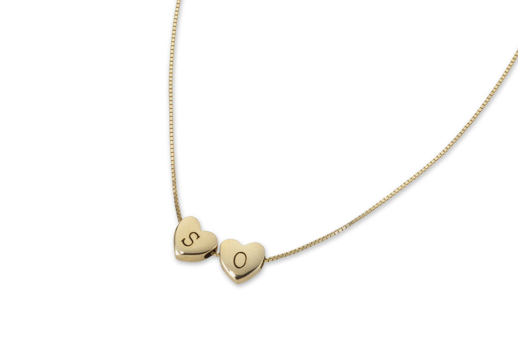 My secret heart necklace with two hearts - solid gold