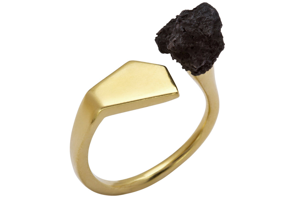 Observer ring - Gold Plated with black polymer
