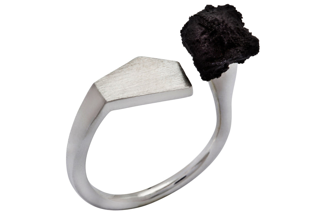 Observer ring - Silver with black polymer