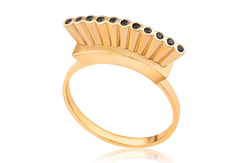 Open crown ring - Gold Plated with black stones