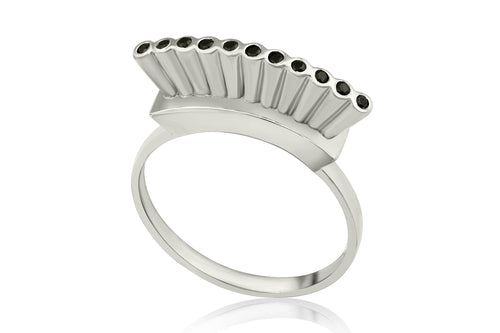Open crown ring - Silver with black stones
