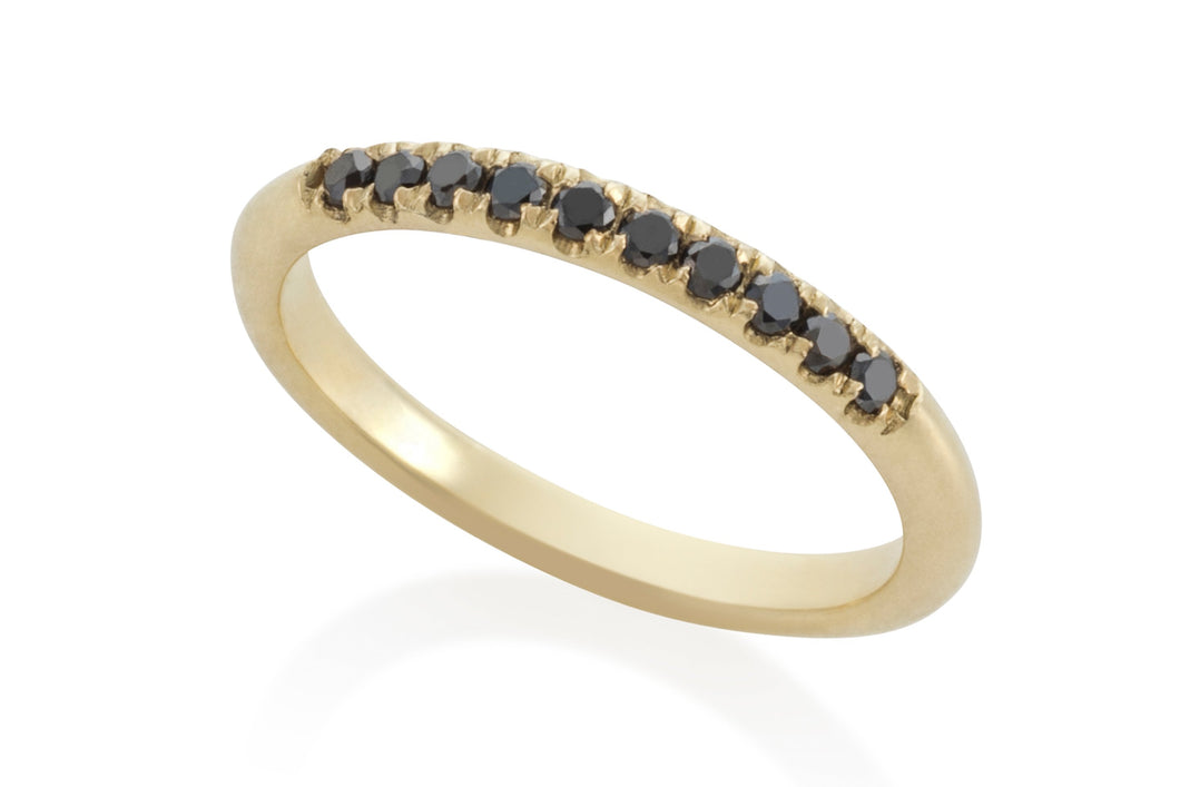 Pinkie Ring - Solid Gold with black diamonds