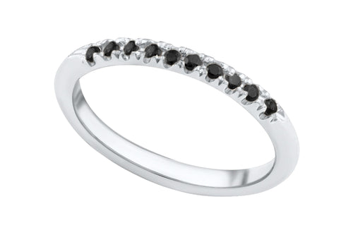 Pinkie Ring - Silver with black stones