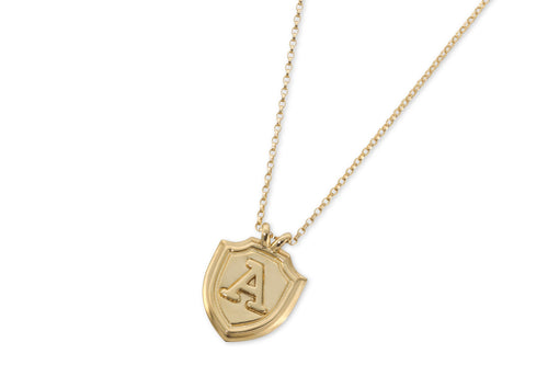 Shield & letter necklace - solid gold
