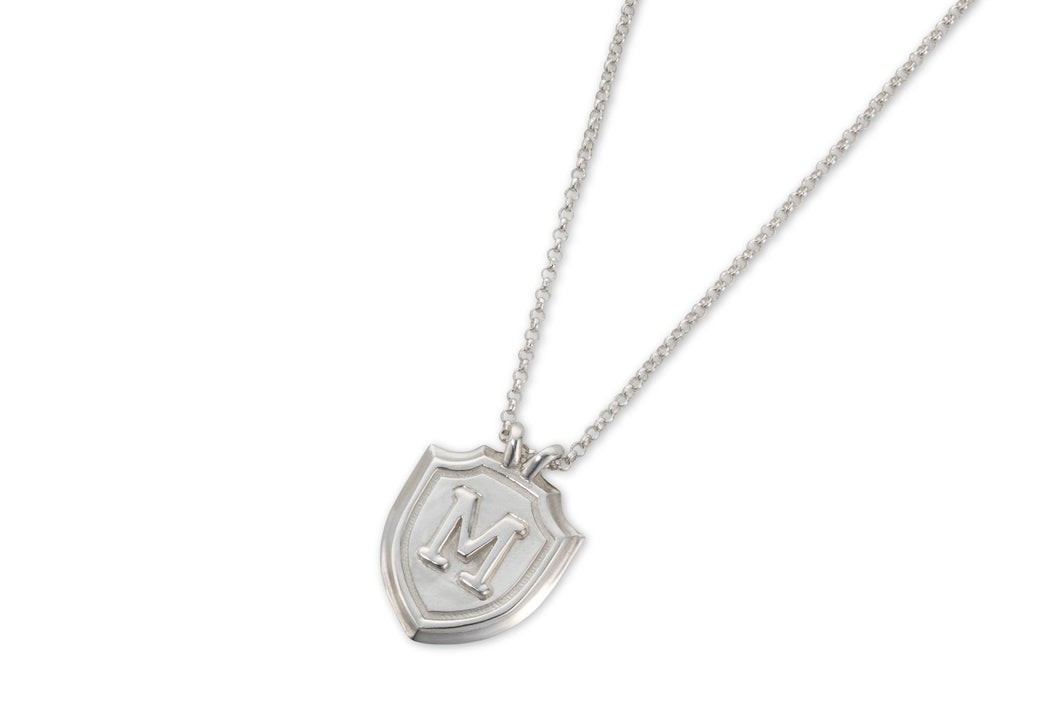 Shield & letter necklace - silver