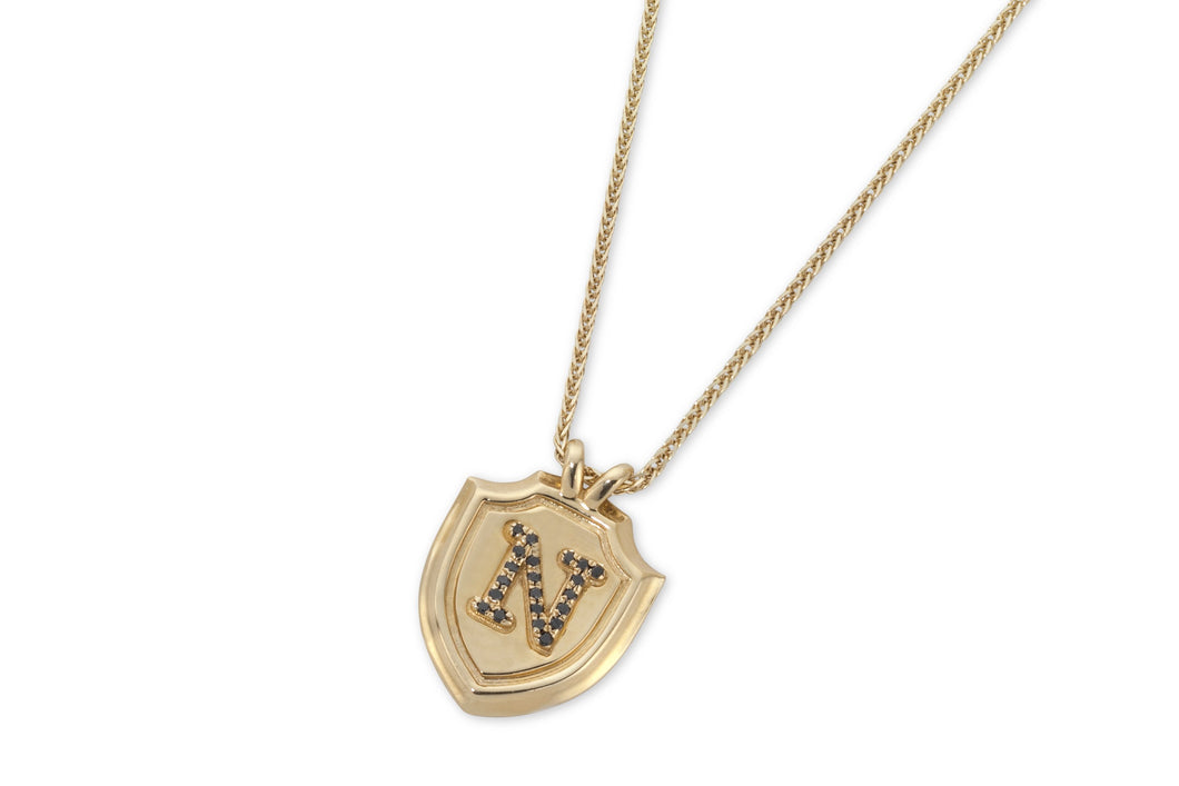 Shield & letter necklace with black diamonds - solid gold