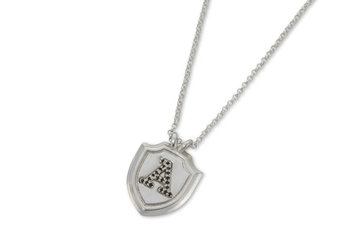 Shield & letter necklace with black stones - silver