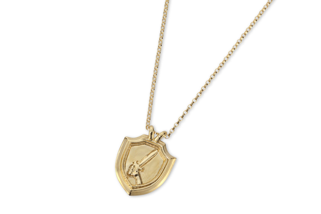 Shield & sword necklace - gold plated