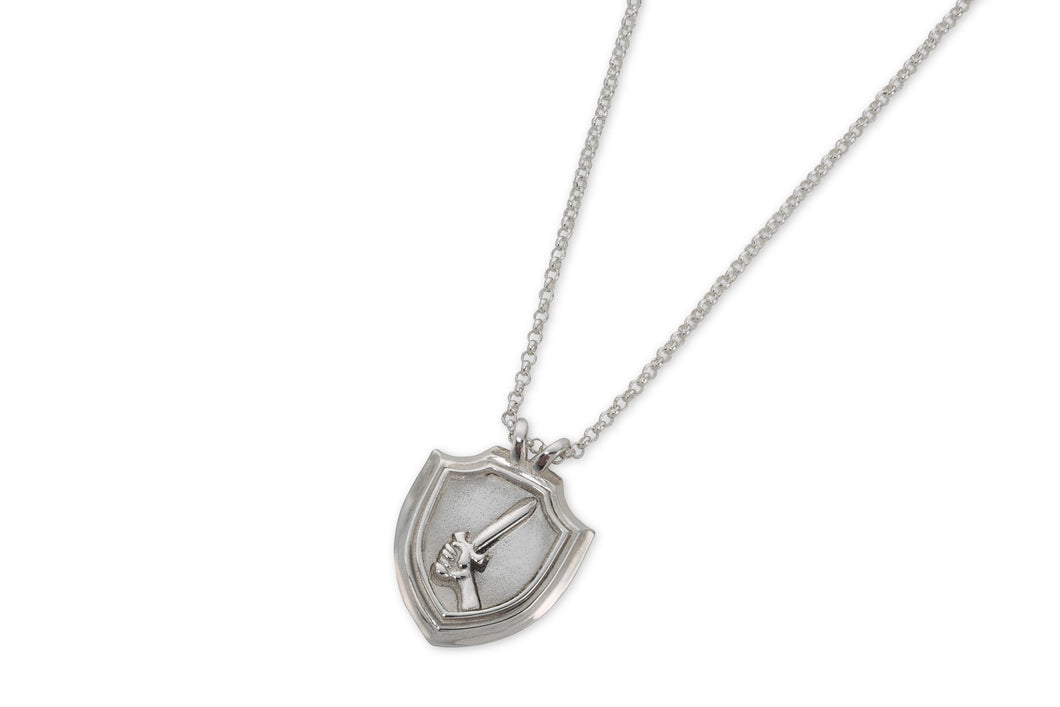 Shield & sword necklace - silver