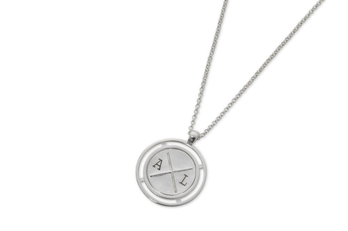 Baby coin necklace with engraving - silver