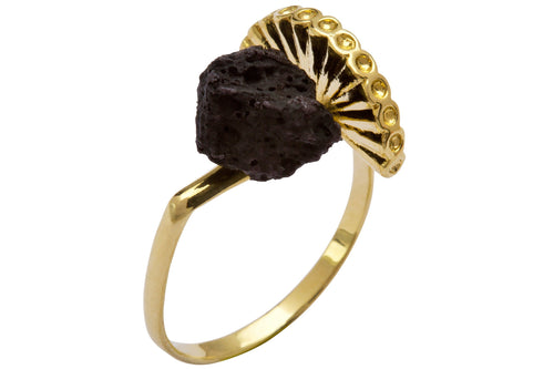 Stone & crown ring - Gold Plated with black polymer
