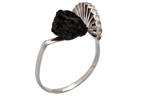 Stone & crown ring - Silver with black polymer