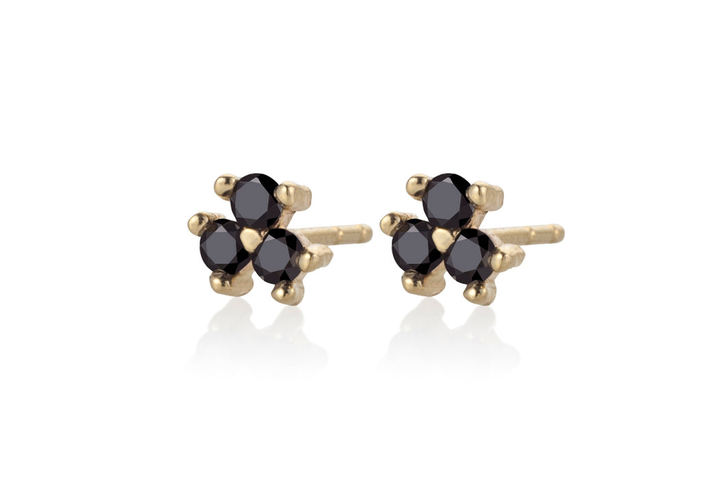 Three Black Diamonds Earring - Solid Gold