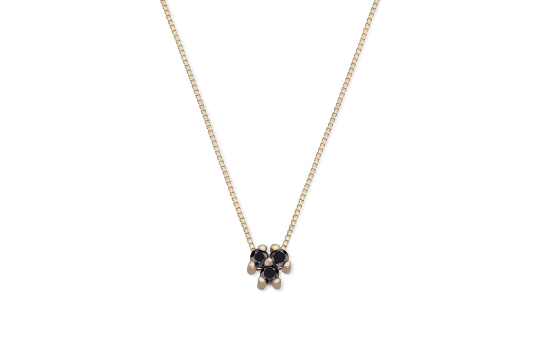 Three black diamonds necklace - solid gold
