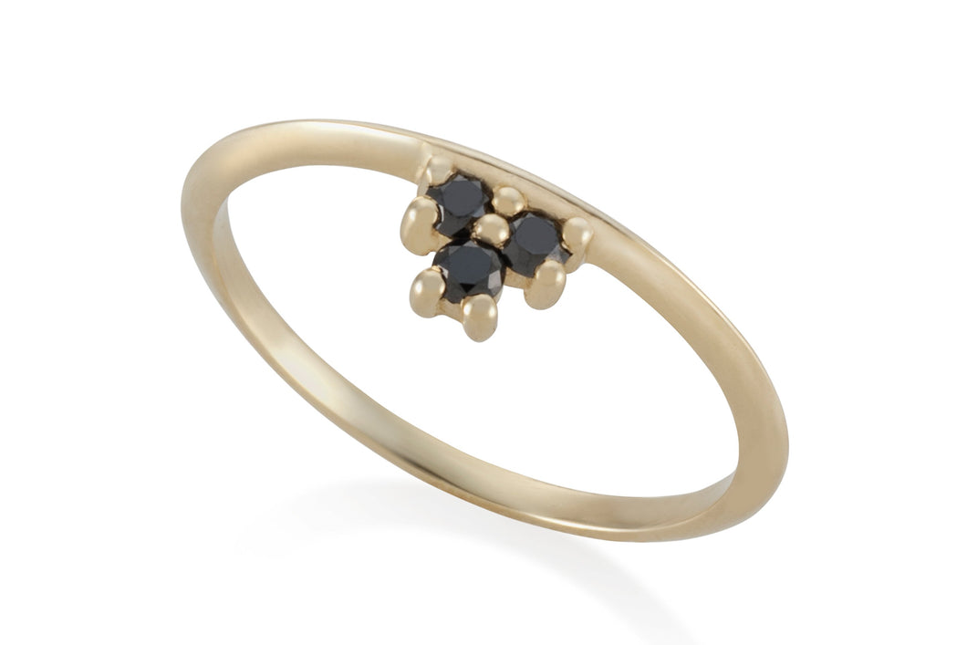 Three Diamonds ring - Solid Gold with black diamonds