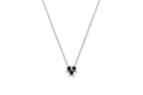 Three black stones necklace - silver