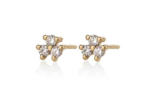 Three White Diamonds Earring - Solid Gold