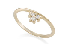 Three Diamonds ring - Solid Gold with white diamonds