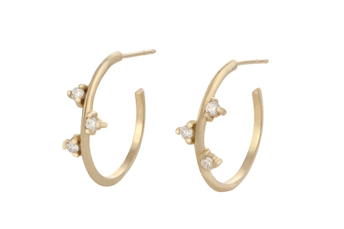White Diamonds Hoop Earring - Solid Gold