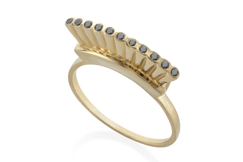 Open crown ring - Solid Gold with black diamonds