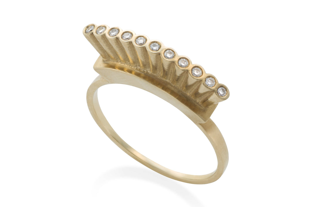 Open crown ring - Solid Gold with white diamonds