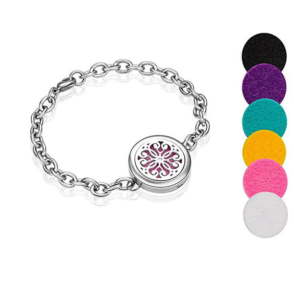Stainless Steel Flower Aromatherapy Bracelet