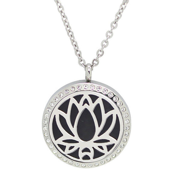 Silver Water Lily magnetic Diffuser Necklace