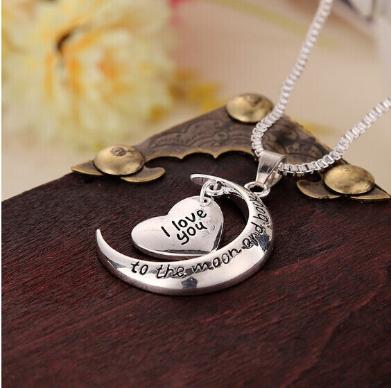 Hot Sale !!!!!! I love You Moon & Heart Pendant Necklace