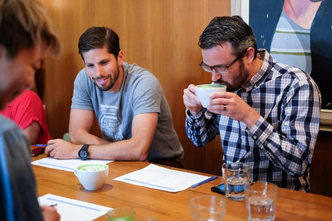Sebastian & Phil tasting the matcha at Mission