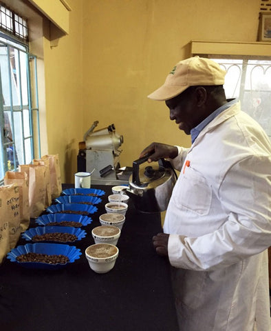 David Wairagu preparing a cupping for me at Othaya