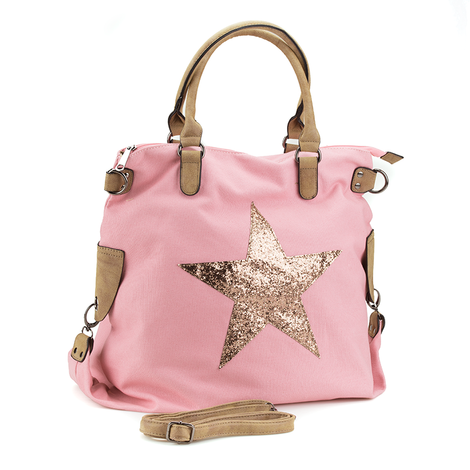 Shopping bag estrella brillante rosa