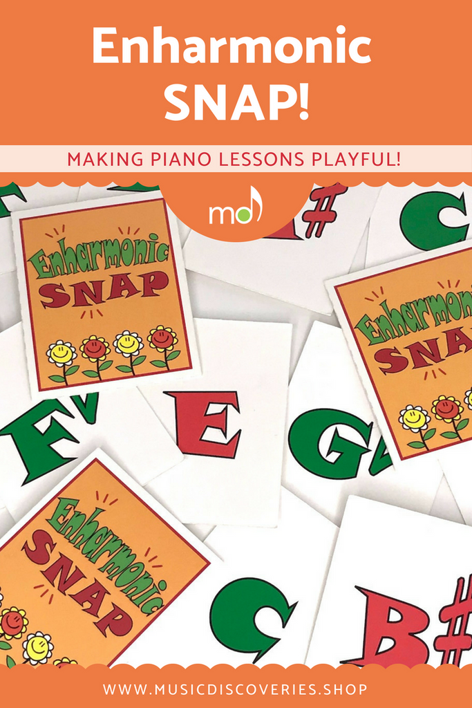 Enharmonic snap is a playful activity to help piano students identify enharmonic equivalents.