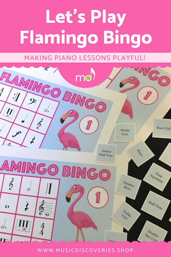 Flamingo Bingo is a fun game for piano lessons