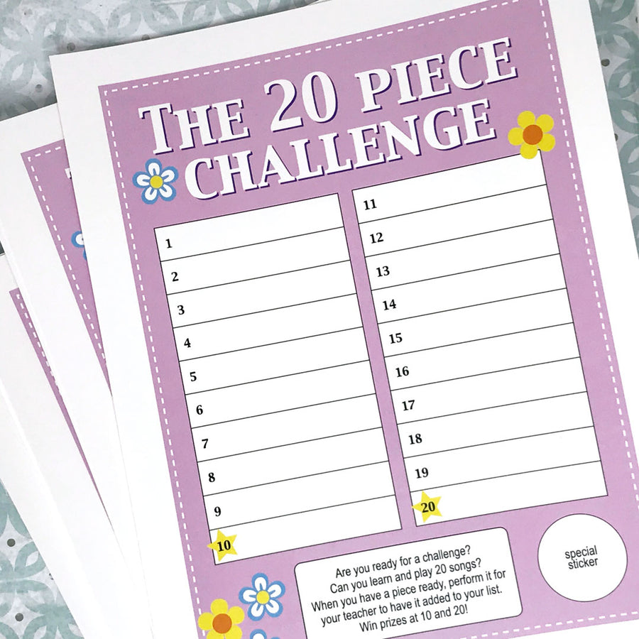 Download and print the FREE 20 Piece Challenge Chart from Music Discoveries