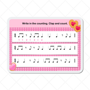 Eighth Note Heart Cookies Digital Music Teaching Aid