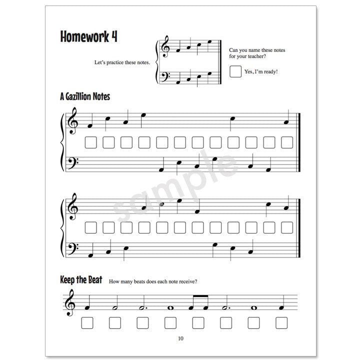 Gazillion Book 1, Music Note Speller by Anne Crosby Gaudet (sample page)