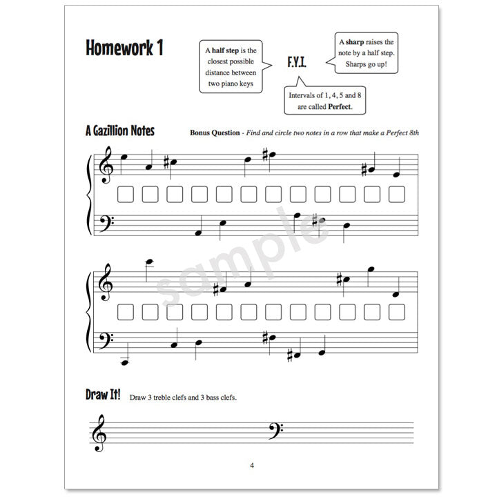Gazillion Book 2, Music Note Speller by Anne Crosby Gaudet (sample page)