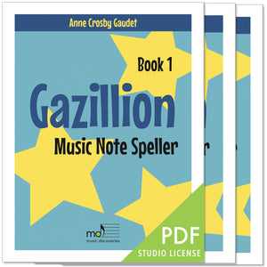 Gazillion Book 1, Music Note Speller by Anne Crosby Gaudet (studio license)