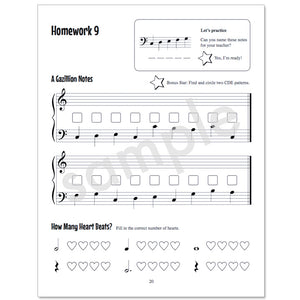 Gazillion Primer, Music Note Speller by Anne Crosby Gaudet (sample page)
