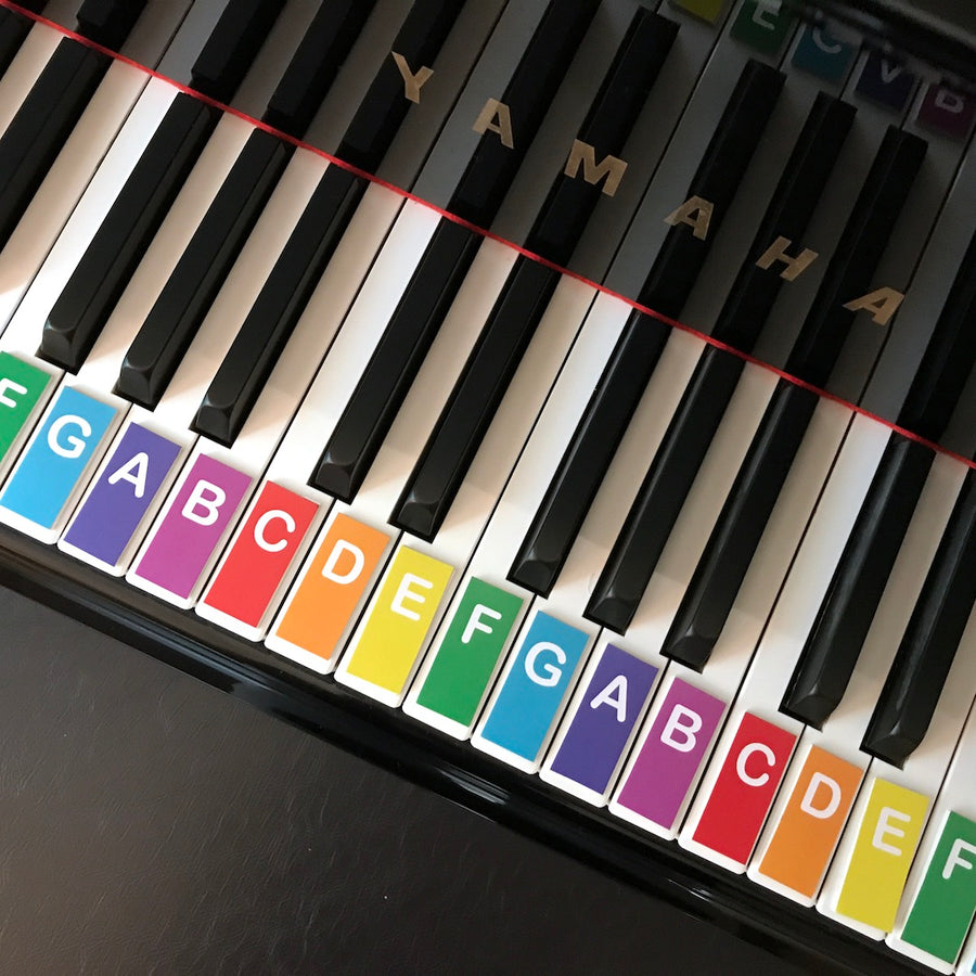 Teeny Tiny Music Alphabet Cards fit perfectly on the piano keys.