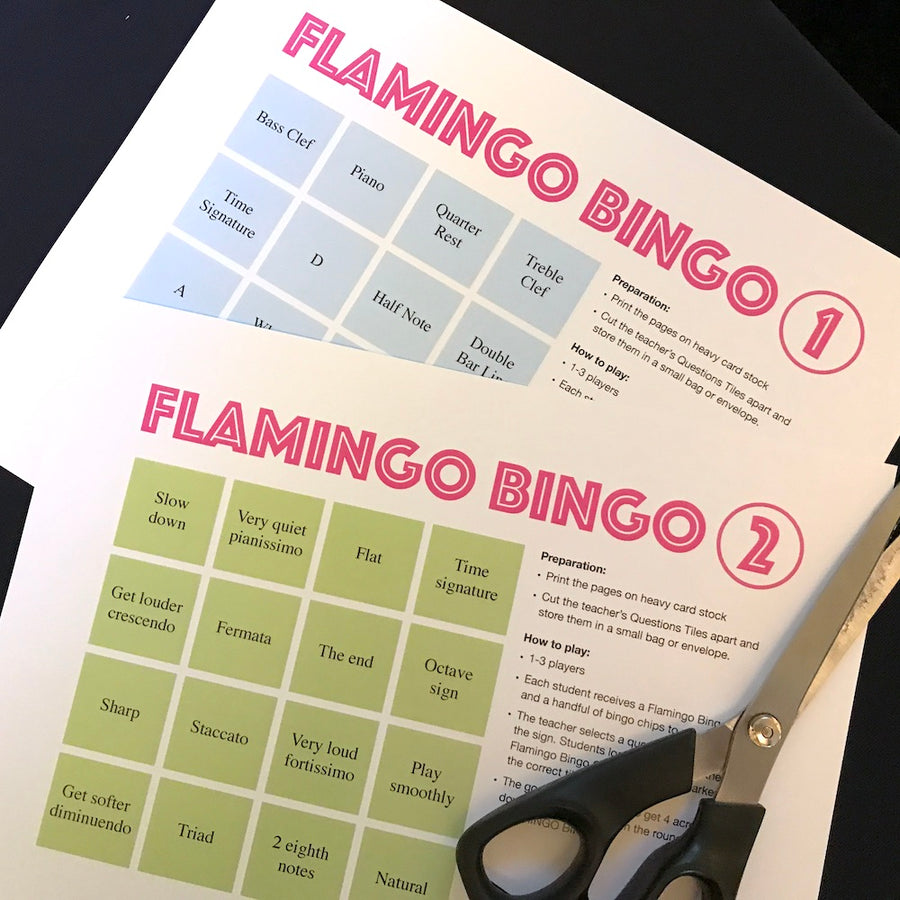Flamingo Bingo is a fun printable game for piano lessons. Cut apart the Teacher's Question Tiles and you are ready to play.
