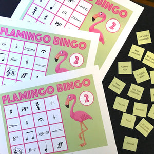 Flamingo Bingo is a fun printable game for piano lessons. Get both Level 1 and 2 in one easy download.