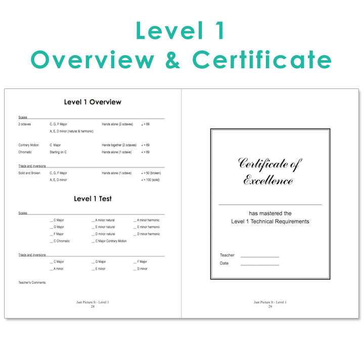 Level 1 sample page from Just Picture It - printable technique workbooks (studio license)